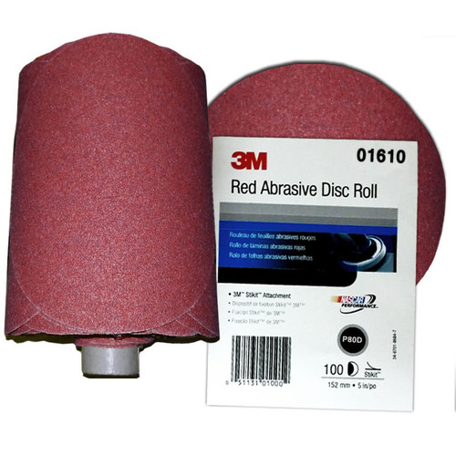 3M 1610 5 in. P80 D Weight Red Abrasive PSA Disc (100-Pack) image number 0