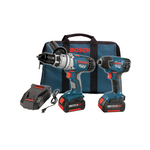 Factory Reconditioned Bosch CLPK22-180-RT 18V Lithium-Ion 1/2 in. Hammer Drill and Impact Driver Combo Kit
