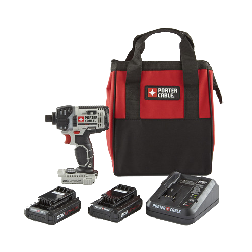 Porter-Cable PKBPCC640B-PCCK888LB 20V MAX Cordless Lithium-Ion 1/4 in. Hex Impact Driver Kit with Batteries and Charger