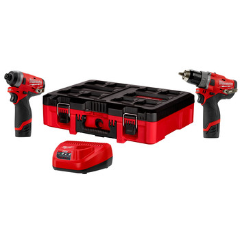 Milwaukee 2598-22PO M12 FUEL Brushless 1/2 in. Cordless Hammer Drill and 1/4 in. Cordless Impact Driver Combo Kit with PACKOUT Tool Box (2 Ah)