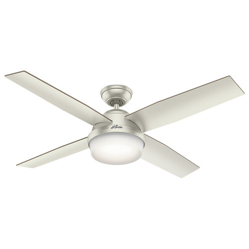 Hunter 59450 52 in. Dempsey Damp Matte Nickel Ceiling Fan with Light and Handheld Remote