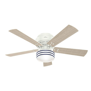 Hunter 55079 52 in. Cedar Key OD LP Fresh White Ceiling Fan with Light and Integrated Control System-Handheld