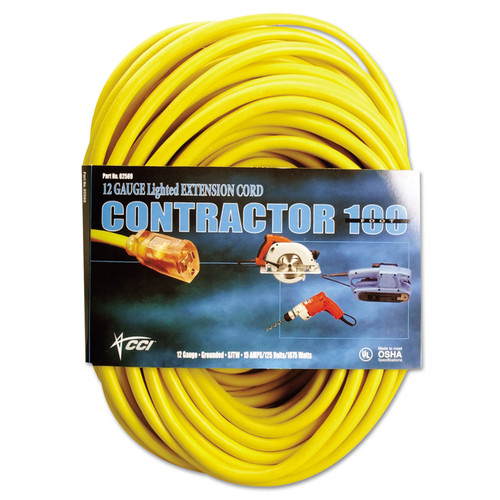 Coleman Cable 172-02689 100 ft. Vinyl Extension Cord (Yellow)