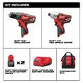 Milwaukee 2494-22 M12 Brushed Lithium-Ion 3/8 in. Cordless Drill Driver/ 1/4 in. Impact Driver Combo Kit (1.5 Ah) image number 1