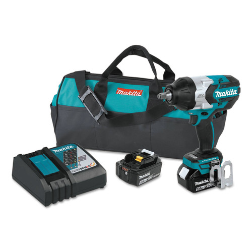 Makita XWT08T 18V Brushless Cordless 1/2 in. Sq. Drive Impact Wrench Kit with Friction Ring Anvil