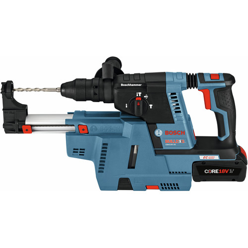 Bosch GBH18V-26K24GDE 18V EC Brushless 1 in. SDS-plus Bulldog Rotary Hammer Kit with (2) CORE18V 6.3 Ah Batteries and Dust-Collection Attachment image number 3
