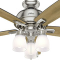 Hunter 53338 52 in. Donegan Brushed Nickel Ceiling Fan with Light image number 7