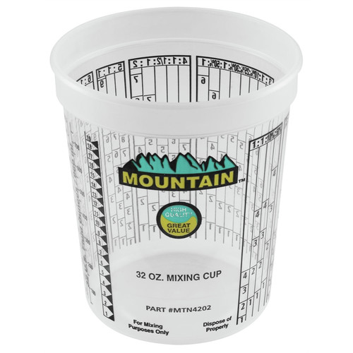 Mountain MTN4202 100-Piece Plastic Disposable Quart Mixing Cups with Multiple Mixing Ratios Pack image number 0