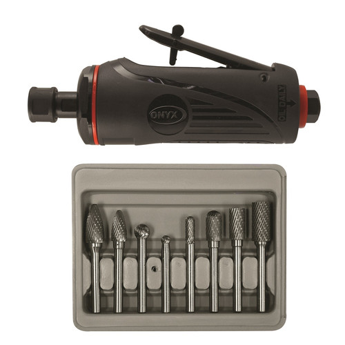 Astro Pneumatic 2181B ONYX 1/4 in. Medium Die Grinder with 8-Piece Double Cut Carbide Rotary Burr Set image number 0