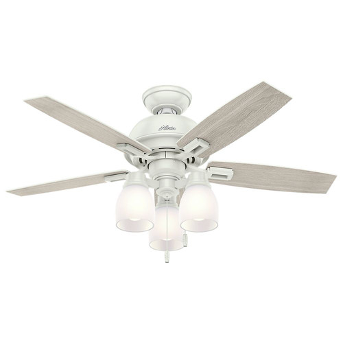 Hunter 52229 44 in. Donegan Fresh White Ceiling Fan with Light