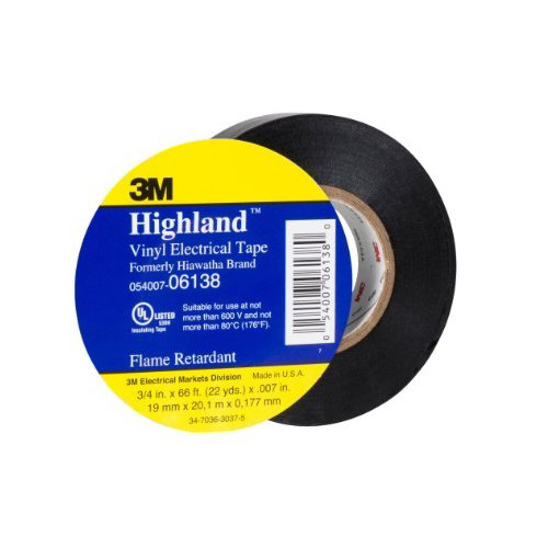 3M 6138 Highland Vinyl Plastic Electrical Tape 3/4 in. x 66 ft. (10-Pack)