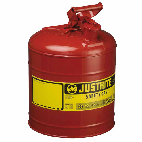 Justrite 7150100 Type I Steel Safety Can for Flammables (5 Gallons) image number 0