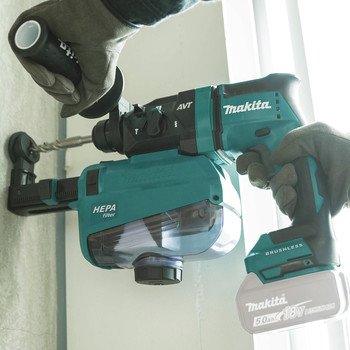 Makita XRH12ZW 18V LXT Lithium-Ion Brushless 11/16 in. AVT SDS-PLUS AWS Capable Rotary Hammer with HEPA Dust Extractor (Tool Only) image number 6