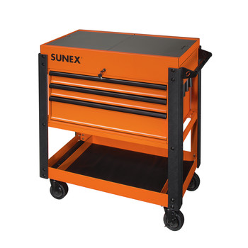 Sunex 8035XTOR 3 Drawer Slide Top Utility Cart with Power Strip (Orange) image number 0