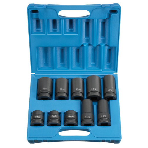 Grey Pneumatic 9153 10-Piece 1 in. Drive 6-Point SAE/Metric Standard/Deep Impact Socket Set
