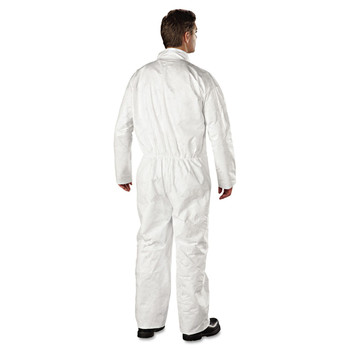 DuPont TY120SWH3X002500 Tyvek Coveralls, Open Wrist/Ankle, HD Polyethylene, White, 3X-Large, 25/Carton image number 1