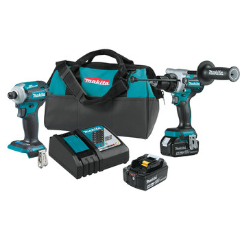 Makita XT288T 18V LXT Brushless Lithium-Ion 1/2 in. Cordless Hammer Drill Driver/ 4-Speed Impact Driver Combo Kit (5 Ah)