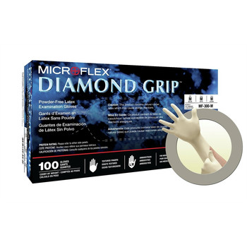 MicroFlex MF-300-S 100-Piece Diamond Grip Disposable Exam Grade Latex Gloves Pack - S