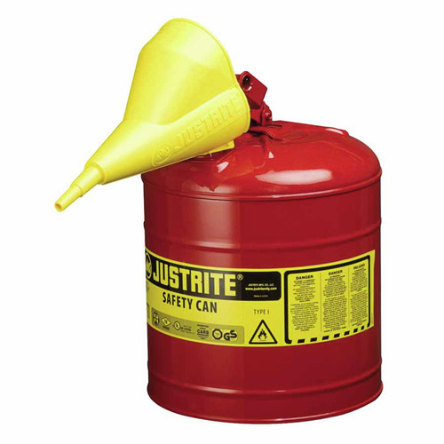 Justrite 7150110 5G/19L SAFE CAN RED W/FUNL image number 0