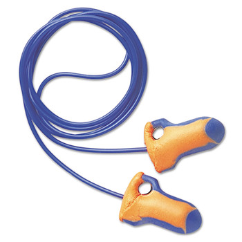 Howard Leight by Honeywell LT-30 LT-30 Laser Trak Single-Use Earplugs, Corded, 32NRR, Orange/Blue, 100 Pairs