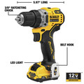 Dewalt DCD701F2 XTREME 12V MAX Brushless Lithium-Ion 3/8 in. Cordless Drill Driver Kit (2 Ah) image number 7
