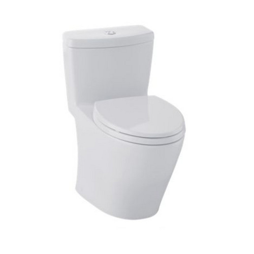 TOTO MS654114MF#11 Aquia Elongated 1-Piece Floor Mount Toilet (Colonial White)