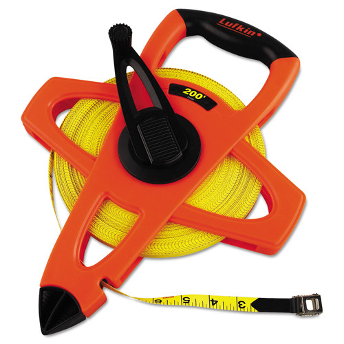 Lufkin 182-FE200 200 ft. Engineer Hi-Viz Fiberglass Measuring Tape in Orange Case (Yellow Blade)
