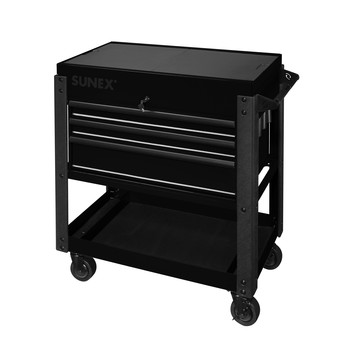 Sunex 8035XTBK 3 Drawer Slide Top Utility Cart with Power Strip (Black) image number 0