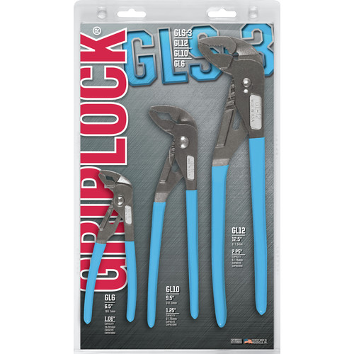 Channellock GLS-3 Griplock Tongue and Groove Plier Set, 6 in, 10 in and 12 in Lengths, Hex Jaw