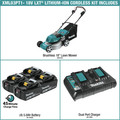Makita XML03PT1 18V X2 (36V) LXT Lithium-Ion Brushless 18 in. Lawn Mower Kit with 4 Batteries (5.0Ah) image number 1