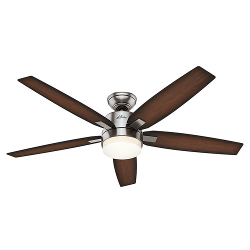 Hunter 59039 Windemere 54 in. Contemporary Brushed Nickel Burnished Mahogany Indoor Ceiling Fan