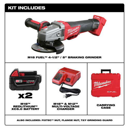 Milwaukee 2783 22 M18 Fuel Cordless 4 1 2 In 5 In Braking Angle Grinder Kit Cpo Outlets