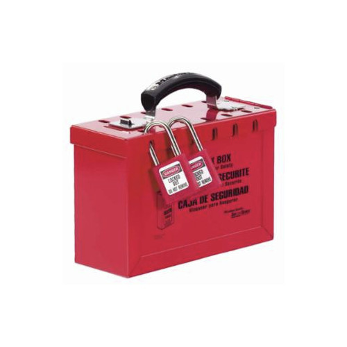 Master Lock 498A 6 in. x 9-1/4 in. x 3-3/4 in. Metal Group Lock Box, Red image number 0