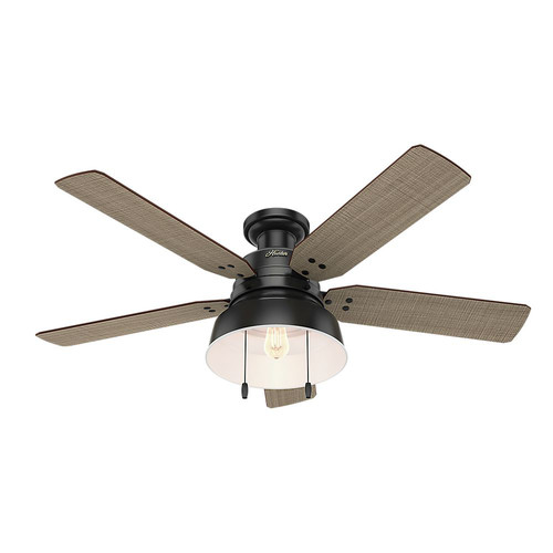 Hunter 59310 52 in. Mill Valley Low Profile Matte Black Ceiling Fan with Light