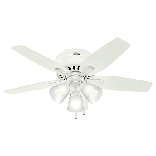 Hunter 51077 42 in. Newsome Low Profile Fresh White Ceiling Fan with Light