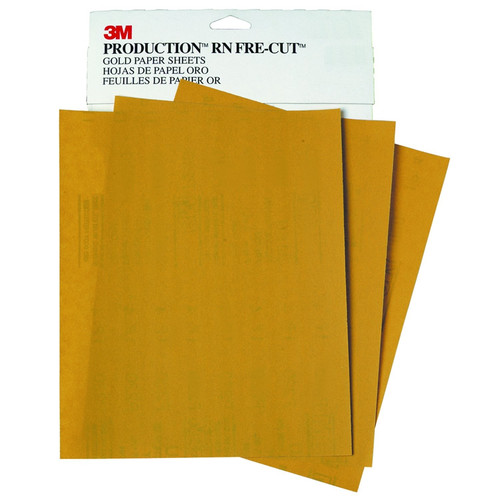 3M 2539 Production Resinite Gold Sheet 9 in. x 11 in. P400A (50-Pack) image number 0