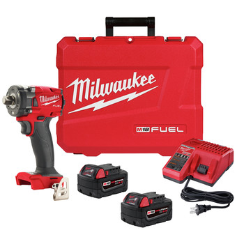 Milwaukee 2855P-22 M18 FUEL Lithium-Ion Brushless Compact 1/2 in. Cordless Impact Wrench Kit with Pin Detent (5 Ah)