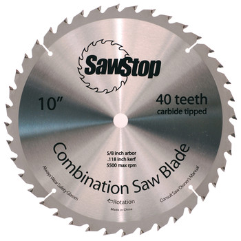 SawStop CNS-07-148 10 in. 40-Tooth Combination Table Saw Blade