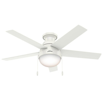 Hunter 59269 46 in. Anslee Low Profile Ceiling Fan with Light (Fresh White)