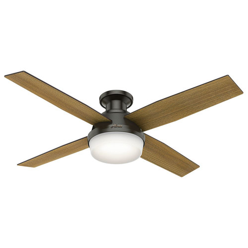 Hunter 59447 52 in. Dempsey Low Profile with Light Noble Bronze Ceiling Fan with Light with Handheld Remote
