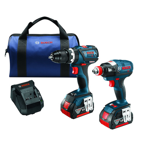 Factory Reconditioned Bosch CLPK251-181-RT 18V Cordless Lithium-Ion Socket Ready Impact Driver & Drill Driver Kit