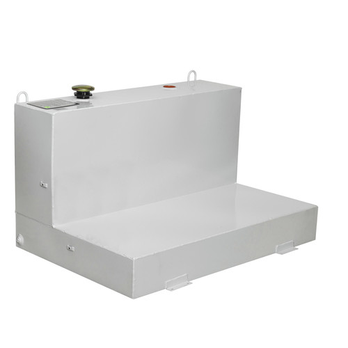 JOBOX 488000 76 Gallon Low-Profile L-Shaped Steel Liquid Transfer Tank - White image number 0