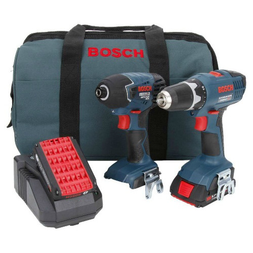 Factory Reconditioned Bosch CLPK24-180-RT 18V Cordless Lithium-Ion 3/8 in. Drill Driver and Impact Driver Combo Kit