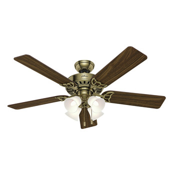 Hunter 53063 52 in. Studio Traditional Antique Brass Walnut Indoor Ceiling Fan with 4 Lights