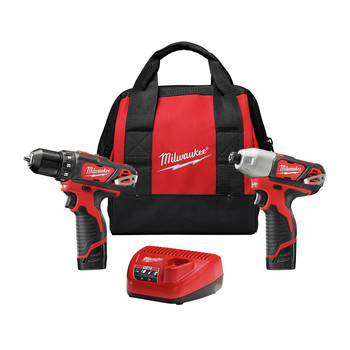 Milwaukee 2494-22 M12 Brushed Lithium-Ion 3/8 in. Cordless Drill Driver/ 1/4 in. Impact Driver Combo Kit (1.5 Ah)