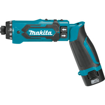Makita DF012DSE 7.2V Lithium-Ion 1/4 in. Cordless Hex Drill Driver Kit with Auto-Stop Clutch (1.5 Ah) image number 2