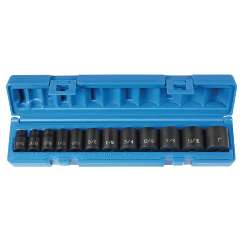Grey Pneumatic 1213 12-Piece 3/8 in. Drive 6-Point SAE Standard Impact Socket Set image number 0