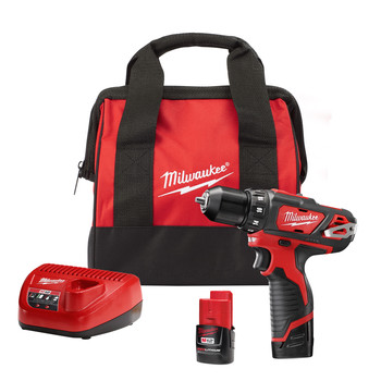 Milwaukee 2407-22 M12 Lithium-Ion 3/8 in. Cordless Drill Driver Kit (1.5 Ah)