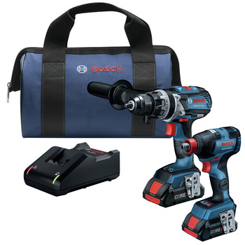 Bosch GXL18V-224B25 18V 2-Tool 1/2 in. Hammer Drill Driver and 2-in-1 Impact Driver Combo Kit with (2) CORE18V 4.0 Ah Lithium-Ion Batteries image number 0