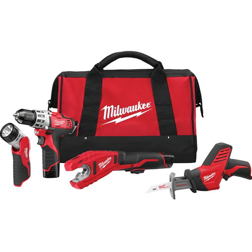 Factory Reconditioned Milwaukee 2499-84 M12 Lithium-Ion 4-Tool Combo Kit